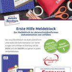 thumbnail of Erste Hilfe Meldeblock