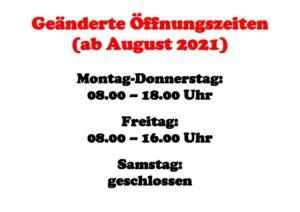 thumbnail of Geänderte Öffnungszeiten
